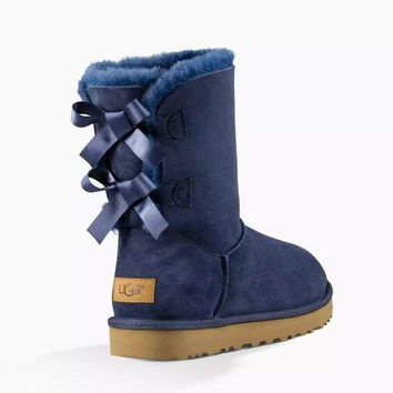 UGG Women's Bailey Bow II Fashion Wool High Top Boots Navy G