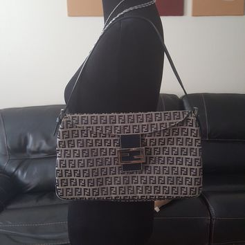 Authentic navy blue and gray Fendi handbag clutch