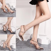 High Heel Cross Strap Plus Size Shoes [11771984015]