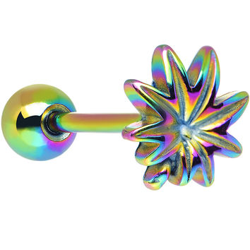 Gleaming Rainbow Anodized Titanium Pot Leaf Barbell Tongue Ring