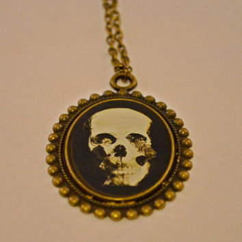 Skeleton Gifts // Halloween Gifts // Gifts for Her // Gifts for Skull Lovers // Skeleton Skull Cameo Antique Bronze Necklace