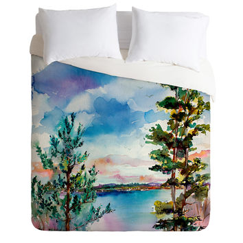 Ginette Fine Art Lake View Through The Trees Duvet Cover