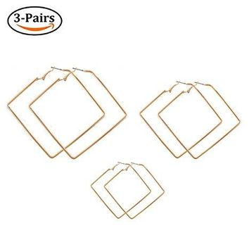 Square Hoop Earrings 3 Pairs Geometric Hoop Earrings Dangle Earring Set For Women Girls