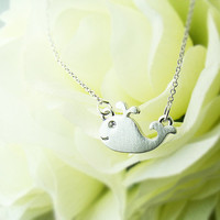 Little Whale Charm Necklace Animal Pendant Charm Jewelry Gold Silver gift idea