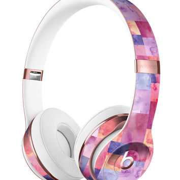 Purple and Pink Watercolor Patchwork Full-Body Skin Kit for the Beats by Dre Solo 3 Wireless Headphones