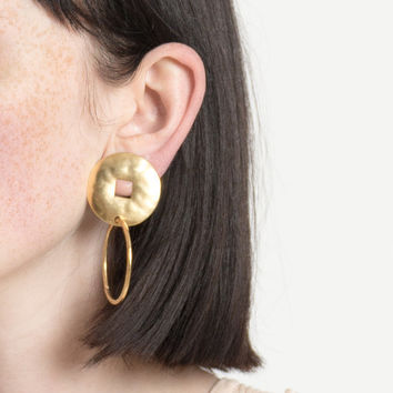 Vintage 90s Gold Circle Earrings with Square Cutout and Hoop