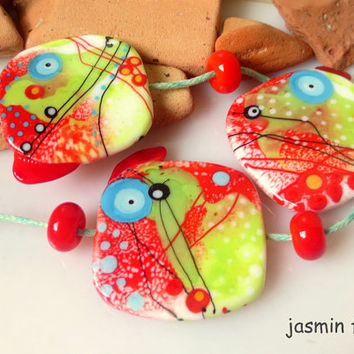 jasmin french ' summertime ' lampwork focal beads glass art