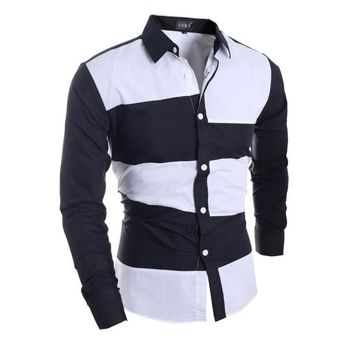 Patchwork Shirt Long Sleeve Slim Fit Dress Shirt