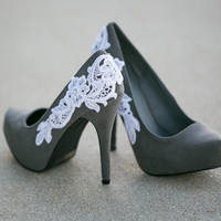 Grey Shoes, Grey Heels/Pumps with White Lace Design. US Size 7