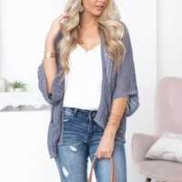 Open Knit Cover Up| Dark Grey