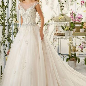 Mori Lee 2818 Sheer Illusion Neck Beaded Ball Gown Wedding Dress
