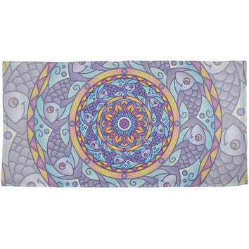 DCCKJY1 Mandala Trippy Stained Glass Fish All Over Beach Towel