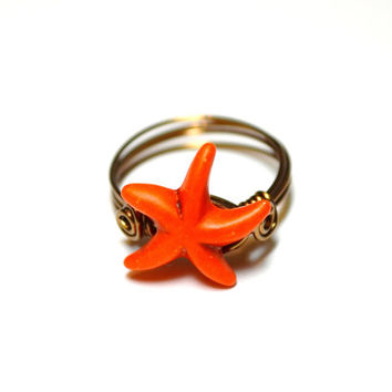 Wire Wrapped Starfish Ring Custom Wire Ring Orange Starfish Bronze Ring Custom Sized Just For You Beach Jewelry Beach Wedding Summer Rings