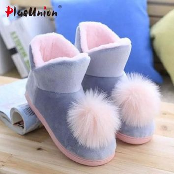 PLUSUNION - Lovely Crystal Plush Home Slippers With Fuzzy PomPoms*
