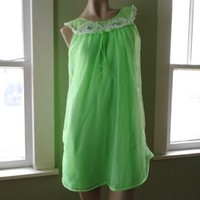 VTG 1960s Nightgown 60s Fluffy Lime Green Shortie Pin Up Nightie Sz M L B36