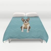 Boston terrier chihuahua mix dog (Bochi) - Green Duvet Cover by mollykd