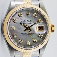 Rolex Lady Datejust Gold Steel Mother of Pearl Diamond 79173 Jubilee WATCH CHEST