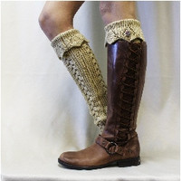 RAMBLING ROSE thick leg warmers -  camel