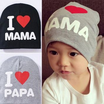 Spring Autumn Knitted Warm Beanie Cotton Baby Hat For Girls Toddler Baby Kids Boy I LOVE PAPA MAMA Print Baby Cap Children