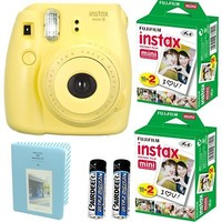 Fujifilm Instax Mini 8 Instant Film Camera with Twin Pack Instant Film (Yellow)
