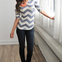 CHEVRON SCOOP TUNIC- GREY