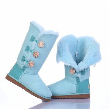 UGG 1873 Bailey Button Triplet Boots Cambridge Blue Outlet UK