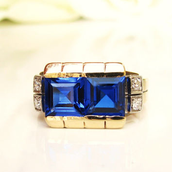 Art Deco Blue Spinel & Diamond Ring Unique Alternative Antique Engagement Ring Platinum 14K Gold Wedding Ring