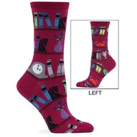 Hot Sox Women's Cat On A Bookshelf Sock