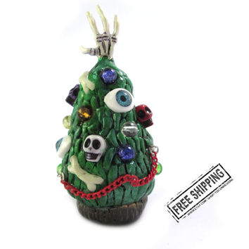 Gothic Christmas tree figurine nightmare Christmas horror art gothic decor weird stuff creepy zombie santa claus scary xmas gothic gift