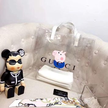 """""""Gucci"""" new transparent large portable shopping bag"""