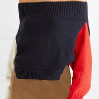 Monse - Off-the-shoulder color-block cotton sweater