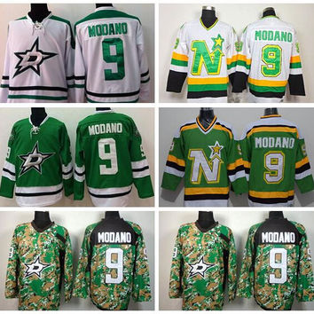 Dallas Stars 9 Mike Modano Ice Hockey Jerseys Throwback Retro Team Color Green Alternate White All Stitching Top Quality