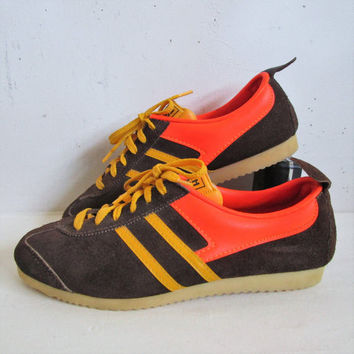 Vintage 70s North Star Sneakers RARE Brown Suede Orange Running Shoes Trainers Womens 8.5