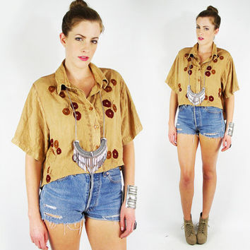 vtg 90s 70s boho ethnic beige INDIA EMBROIDERED crop hi-low FISHTAIL hem button up tunic shirt top S M L