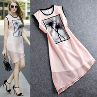 Pink Sheer Sleeveless Lotus Flower Designed Irregular Hem Mini Dress