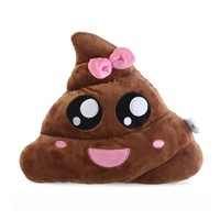 Poo Shape Bowknot Pillow Cushion