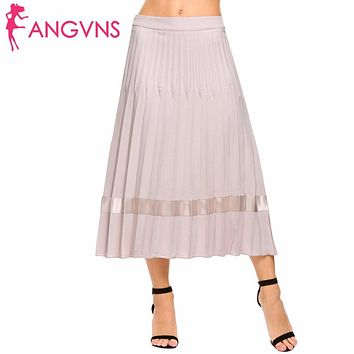 Women Pleated Skirts High Waist Flare Party Maxi Skirt