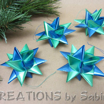 Moravian Ribbon Stars / Set of 4 / German Froebel Advent Christmas Danish Swedish Polish Origami 3D Stars green blue / READY TO SHIP (23)