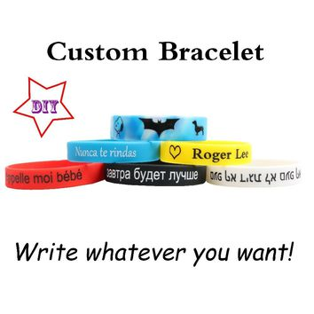 High Quality Custom Silicone Bracelets Popular Multiple content for kids adult ID Customized Engraved DIY Private Child Gifts