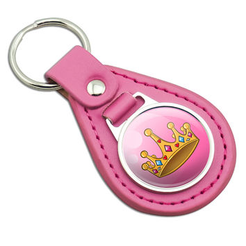 Pretty Princess Crown Pink Leather Keychain