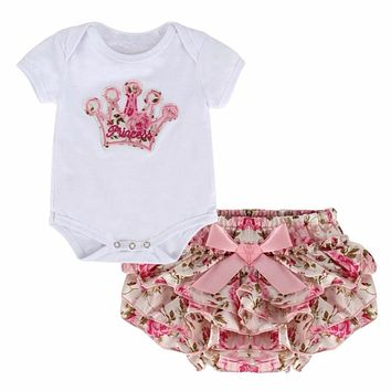 0-18M Cute Newborn Baby Girls Solid Color Crown Print Clothes Short Sleeve Bodysuit + Lovely PP Pants 2 Pcs Set