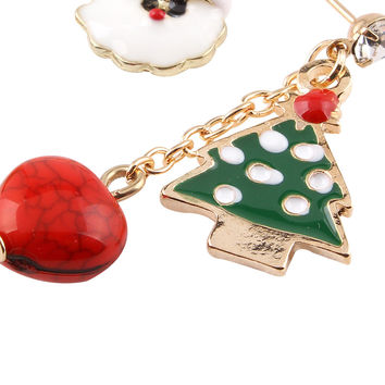 Color Block Christmas Tree And Santa Claus Pendant Earrings