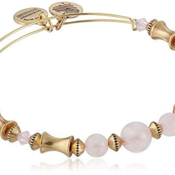 "Alex and Ani ""Valentine's Day Collection"" Rose Quartz Beaded Rafaelian Gold Bangle Bracelet"
