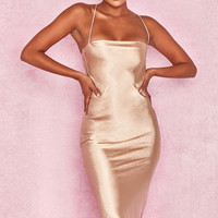 Clothing : Bodycon Dresses : 'Julieta' Champagne Satin Slip Dress