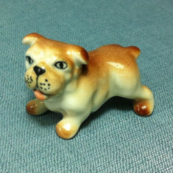 Miniature Ceramic Dog Bulldog Standing Animal Cute Little Tiny Small Brown Orange White Figurine Statue Decoration Collectible Hand Painted