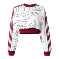 ADIDAS ORIGINALS  Red/White/Black Cropped long sleeve sweatshirt