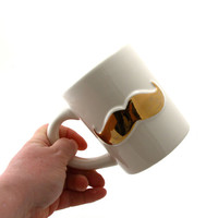 Gold metallic mustache mug, moustache, gift for him, pottery and ceramic, kiln fired and glazed