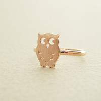 Owl ring in rose gold owl adjustable ring by janesshopinetsy