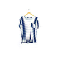 blue and white striped sailor t shirt mens large