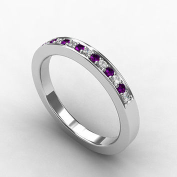 Amethyst ring, wedding band, eternity ring, white gold, amethyst wedding, purple, violet, amethyst, wedding ring, custom, micro pave
